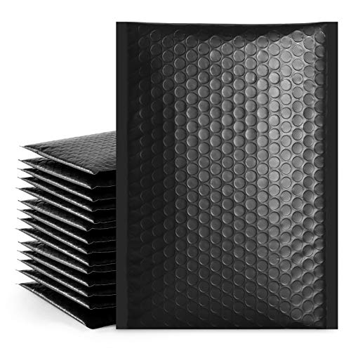 """Fuxury Fu Global 6x10 Inch Black Poly Bubble Mailer, 25pcs #0 Self Seal Padded Envelopes, Bubble Lined Wrap Bags for CDs & Jewelries & Cosmetics Packing Shipping Mailing (Inside Size: 6x9"""")"""