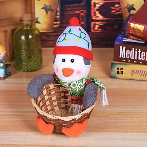 ZHANGYY Muñeco de Papá Noel Regalo Feliz Navidad Canasta de Mimbre Dulces Decoraciones navideñas Elk Muñeco de Nieve Papá Noel Canasta de Frutas Soporte para Alimentos Decoración del hogar