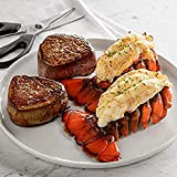 Lobster Gram |Two Fresh Maine Lobster Tails 8-10 oz. & 2 8 oz. Filet Mignon | Fresh and Fast Delivery | From the #1 Lobster Food Delivery Company | Makes a Great Surf & Turf Meal