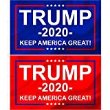 Donald Trump 2020 Flags, 2 Pc Set, Keep America Great, 3x5 Double Sided Display, Front Yard, Garden and Outdoor Use, UV and Weather Resistant, MAGA