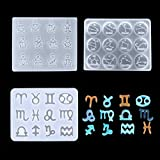 12 Constellations Resin Molds Zodiac Horoscope Pendant Jewelry Casting Trays with Hanging Hole for Earrings Gems Pendant Keychain Craft DIY Making, 3 Pack