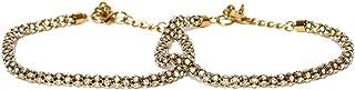 prita Stone Studded Brass Adjustable Anklet/Payal for Women