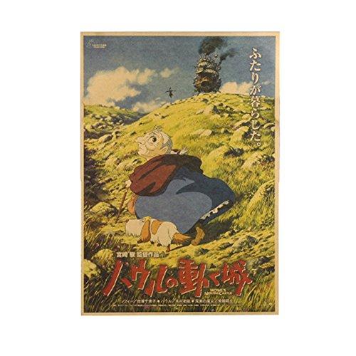 Haushele OFD Japanische Anime Hayao Miyazaki Anime Tonari no Totoro Howl's Moving Castle 風立ちぬ Poster Kollektion Totoro Poster Dekoration Cafe Bar Poster(H04)