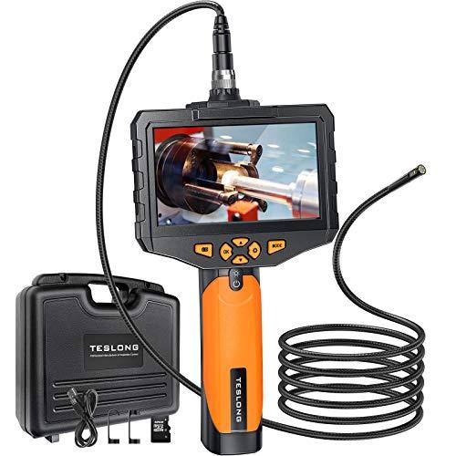 Teslong Zwei Linsen Endoskopkamera, Endoskop mit 5-Zoll-Farb-IPS- Monitor, 1080P Wasserdichte Inspektionskamera mit 6 LED-Licht, 5000mAh Batterie, 32G-TF-Karte, Werkzeugkasten (5 M/16,4 ft)