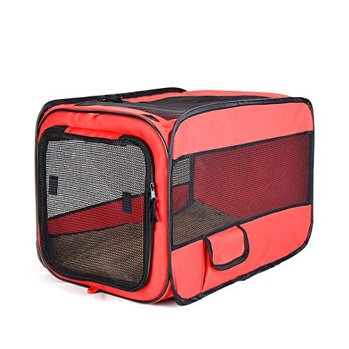 KK Gabby Tienda Plegable Portátil del Animal Doméstico del Paño De Oxford De La Jaula 600D del Coche De La Jaula del Coche del Animal Doméstico (Color : Red, Size : S)