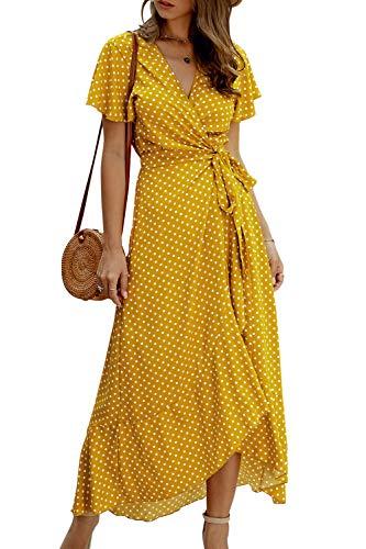 Zilcremo Damen Boho Lange Kleider V-Ausschnitt Sommerkleider Kurzarm Maxikleid Strandkleid Wickelkleid mit Gürtel Gelb S