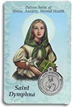 Saint St St. Dymphna Prayer Card Holy Card Cards Patronage Patron Stress Anxiety Mental Health with Medal
