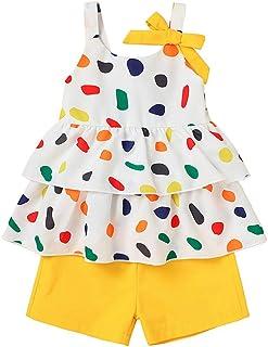 Zrom 1-6 Years Toddler Kids Baby Girls Polka Dot Ruffle Strap T shirt Tops Shorts Outfits Set