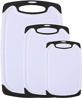 Vicloon Tablas de Cortar de Plástico, Juego de Tabla de Cortar de Seguro Reversible Establecen con Profundo Goteo Jugo de Ranura, Apta para Lavavajillas,Libres de BPA (Blanco, Juego de 3 Unidades)