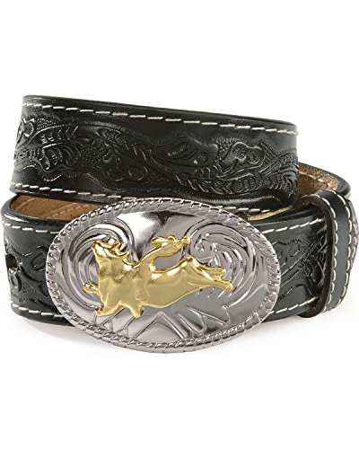 "Nocona Boots Boys' 1-1/4"" Tooled Bull Rider Floral Leather Western Belt Buckle, Black, 26"
