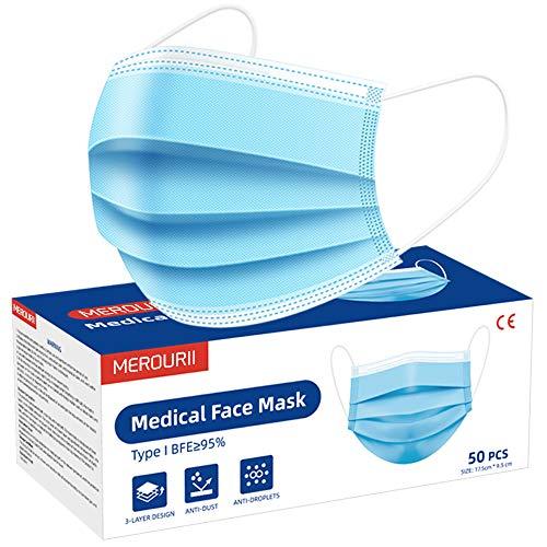 Medizinische Gesichtsmaske 50 Stück, Einweg Mundschutz Maske 3-Schicht, Medizinische Atmungsaktive Maske mit Ohrschlaufen für Erwachsene, Kinder Gesundheitsschutz Staubmaske, CE-Zertifizierung