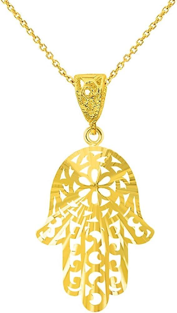 Textured 14K Yellow Gold Filigree Hamsa Hand of Fatima Pendant Necklace