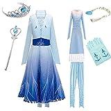 YOGLY Disfraz de princesa Elsa para niña, incluye diadema, guantes y varita mágica