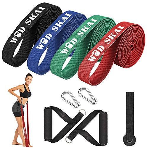 WODSKAI Resistance Bands Set, Pull Up Assist Bands, Exercise Workout Bands with 2 Foam Handles, Hook Carabiners, Door Anchor, for Resistance Training, Physical Therapy, Home Workouts