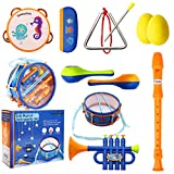 NONZERS Kids Musical Instruments Set, 8 Types 10PCS Toddlers Rhythm Instruments Toys, Kid Drum Sets, Percussion, Tambourine, Trumpet, Maraca, Harmonica, Flute, Children Educational Learning Music Gift