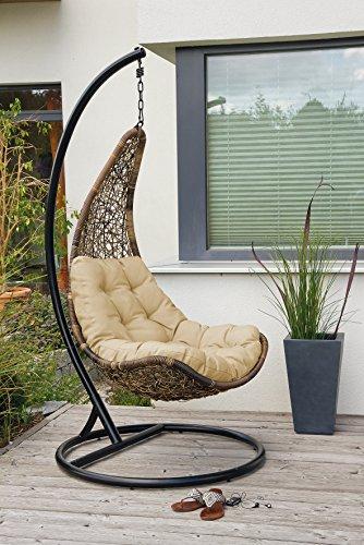 Design Rattan Hängestuhl Celano Hängesessel mit Gestell und Sitzpolster - 2