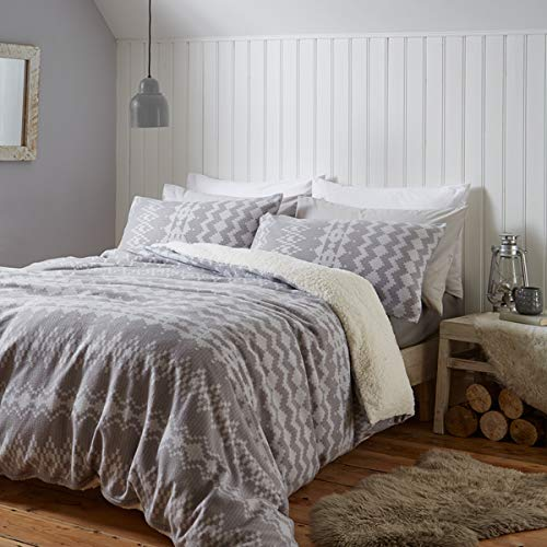 Catherine Lansfield Alpine Fleece Double Duvet Set Grey
