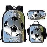 HUGHER Los Bolsos de Escuela de Los Deportes del Adolescente Fijaron,Mochila Escuela Impresión del Fútbol del Bookbag de Las Muchachas de Los Niños