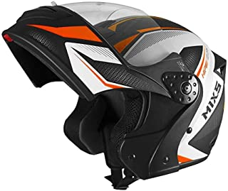 Capacete Mixs Gladiator Neo Brilhante Escamoteavel Articulado Robocop preto com laranja 58