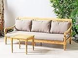 LANTERFANT Loungebank Roos Relaxliege Sofa Kissen Bett Teakfarbe und Taupe - 9