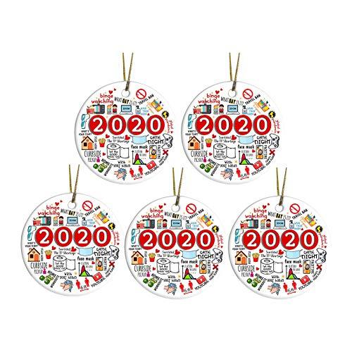 ThsiJJ 2020 Christmas Ornament, Commemorative Ornament,Pandemic Ornament, Quarantine Covid_Christmas,Wooden Round Ornament & Ribbon for Xmas Tree Ornament Hanging Accessories (5PCS, Style - C)