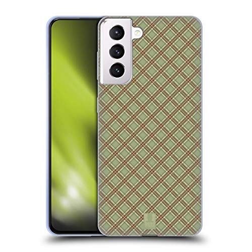 Head Case Designs Light Green Red Plaid - Pattern Collection Soft Gel Case Compatible with Samsung Galaxy S21+ 5G