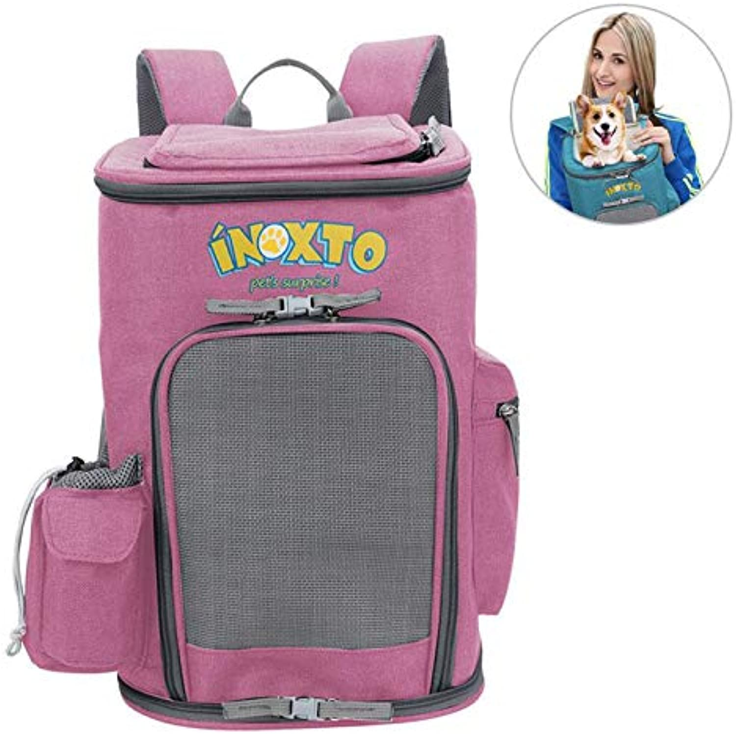 Dog Carrier Backpack, Womdee Pet Carrier Backpack for Dogs & Cats, European Standard Breathable Mesh, Ventilation Design,Fleece Padding, Hold Pets Up to 29LBS  Pink