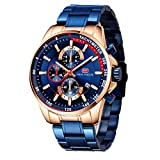 Relojes para Hombres, Mini Focus Analógico de Cuarzo Reloj Impermeable Deportivo cronógrafo Correa de Cuero Fecha para Regalo (Azul 2)