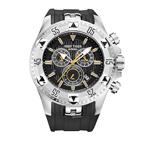 REEF TIGER Herren Uhr analog Quarzwerk mit Kautschuk Armband RGA303-YBB