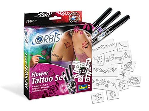 Unbekannt Orbis 30307 Flower Tattoo Set mit Farbpatronen für die Haut und selbstklebenden Schablonen Kinder und Allen Anderen Kreativen, Zubehör für das Airbrush Power Studio 30020, Mehrfarbig
