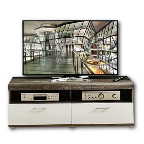 CROWN X TV-Board in Driftwood Optik, Weiß - hochwertiges Low-Board für Ihr Wohnzimmer - 140 x 50 x 48 cm (B/H/T)