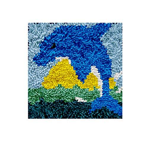DIY Latch Hook Rug Kits, Kit de Ganchillo Alfombras para Adultos, Alfombras de Crochet Bordados en Punto de Cruz con Lienzo Impreso-Delf¨ªn 11,8*11,8inch