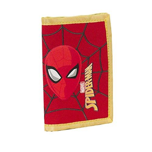 DC Comics Spiderman Ultimate- Portefeuille pour Enfants avec Fermeture Velcro - Couleur Rouge