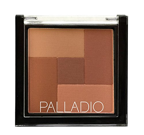 Palladio 2 In 1 Mosaic Powder Blush and BronzerSilky Smooth Face Makeup Pressed FiveColorHuesfromShimmering Pinks to Golden Browns Rich Pigmented Shades Flawless Finish, Spice, 0.28 Oz