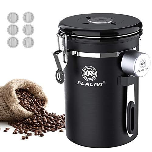 Flalivi Kaffeedose, luftdichter Edelstahl-Kaffee-Vorratsbehälter mit Schaufel, für Bohnen, Tee, Kaffee, Zucker, Kaffee-Gemahlenes Gefäß mit Einweg-Co2-Ventil (625 ml), Schwarz