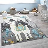 Alfombra Pelo Corto Habitación, Llama, Montaña, Diseño Infantil, Gris Multicolor, tamaño:133x190 cm