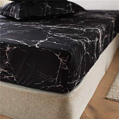 Boqingzhu Spannbettlaken 180x200cm Schwarz Weiß Marmor Optik Muster Spannbetttuch Microfaser Bettlaken für bis 25cm Matraze