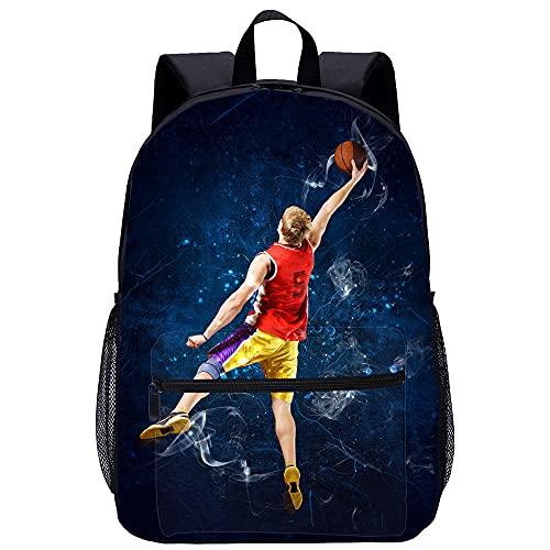 YWTW Rucksack Wandern Schulranzen Mädchen Laptoprucksack Damenrucksack Basketball-Spieler Rucksäcke 3D Drucken Rucksäcke