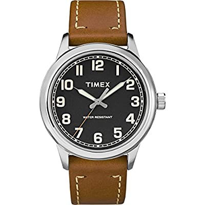 Timex Men's TW2R82100 New England Brown/Black Leather Strap Watch from Timex