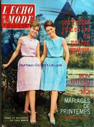 ECHO DE LA MODE (L') [No 21] du 21/05/1961 - CES ROBES...