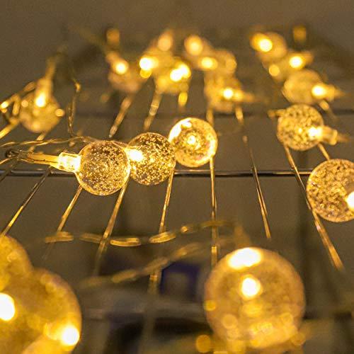 Ghirlanda di luci a sfera, funzionamento a batteria, Bubble Orb, luci decorative a LED con motivo luminoso, 20 luci a luce bianca calda