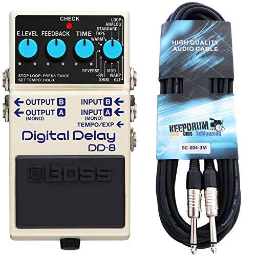 Boss DD-8 Digital Delay Effektgerät + keepdrum Gitarrenkabel 3m