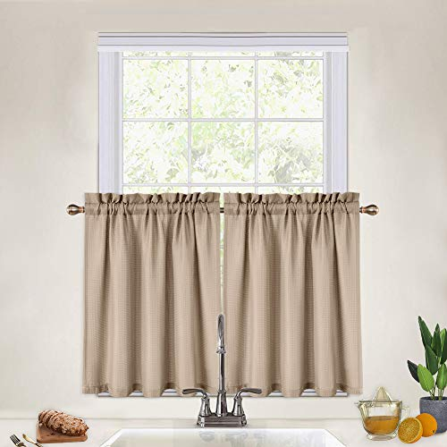Cafe Curtains 30 Inch, Waffle Woven Textured Short Tier Curtains for Kitchen Cafe Bathroom Half Window Curtains, Plaza Taupe