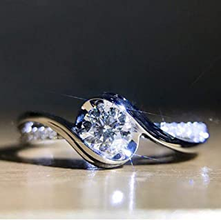 S925 Sterling Silver Simulated Diamond Ring Simple 18k White Gold Plated Ring Fashion Ultra Flash Diamond Carat Heart and ...
