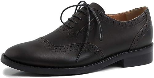 ANNIEzapatos Elegantes zapatos mujer Cuero Derby Casual Oxford Comodos Brogue Tacon Ancho