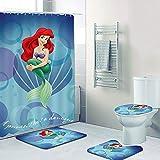 Fgolphd Disney The Little Mermaid Duschvorhang 180x200 180x180 Ariel Pink Rot Bunt Badezimmerteppich 4-teiliges Set, Shower Curtains Wasserdicht (180 * 200,21)