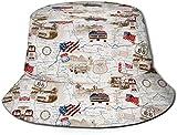Unisex American Honor USA Sombrero de Cubo de Viaje con Estampado de Rayas Gorra de Pescador de Verano Sombrero para el Sol-Mapa de Viaje de Viaje por Carretera Estadounidense