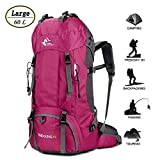 60L Waterproof Lightweight Hiking Backpack with Rain Cover,Outdoor Sport Travel Daypack for Climbing Camping Touring (Rose Red)