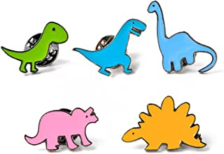 Bullidea Metal Enamel Pin Badge Brooch Cute Little Dinosaur Series Brooch Pins Set Cartoon Brooch Suit Shirt Sweater Pin Pack of 5