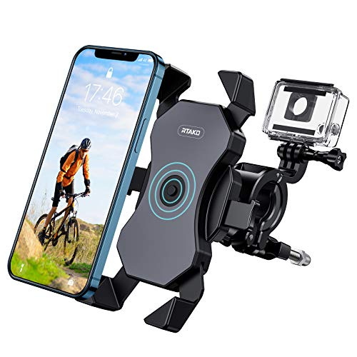 RTAKO Bike Phone Mount 360° Rotation Phone Holder for Bike Bicycle Motorcycle Motorbike Unbreakable Bike Phone Holder Support Face Touch ID Compatible for 4